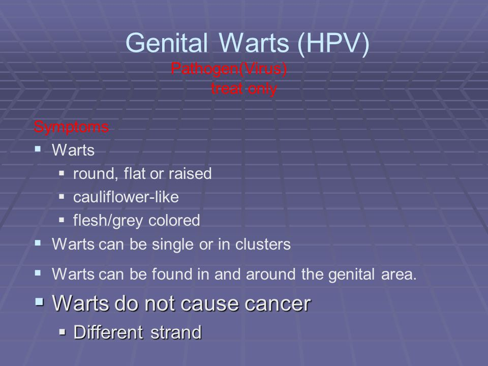 Genital Warts (HPV) Pathogen(Virus) treat only Symptoms   Warts   round, flat or raised   cauliflower-like   flesh/grey colored   Warts can be single or in clusters   Warts can be found in and around the genital area.
