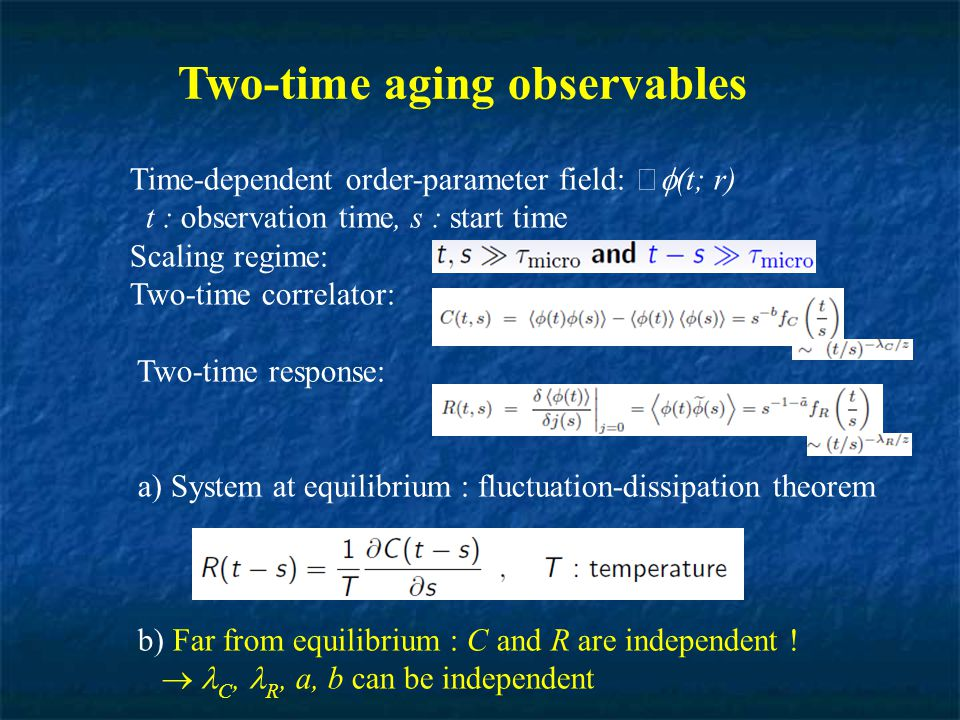 Two-time aging observables Time-dependent order-parameter field:  (t; r) t : observation time, s : start time Scaling regime: Two-time correlator: Tw