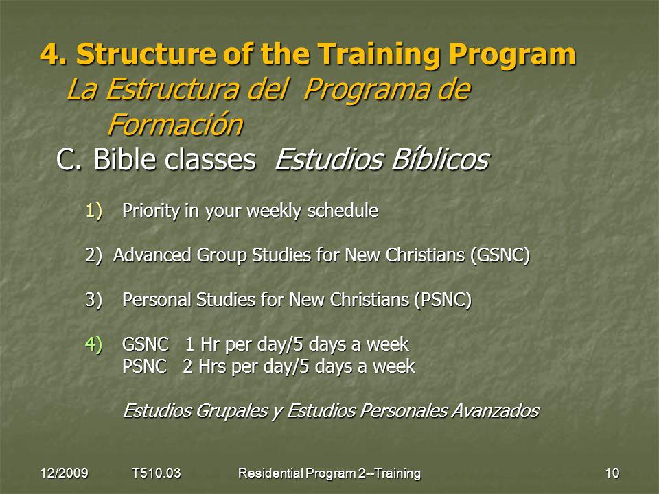 4. Structure of the Training Program La Estructura del Programa de Formación C.Bible classes Estudios Bíblicos 1)Priority in your weekly schedule 2) A