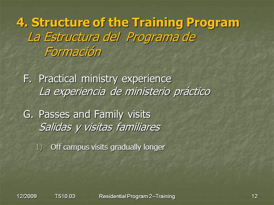 4. Structure of the Training Program La Estructura del Programa de Formación F.Practical ministry experience La experiencia de ministerio práctico G.P