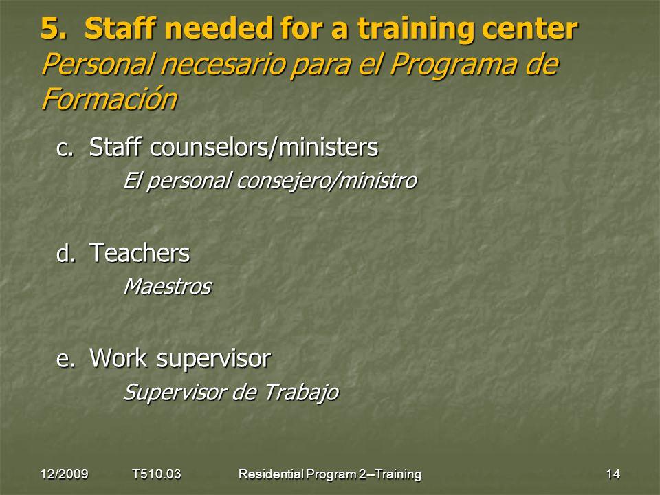 5. Staff needed for a training center Personal necesario para el Programa de Formación 12/2009 T510.0314Residential Program 2--Training c. Staff couns