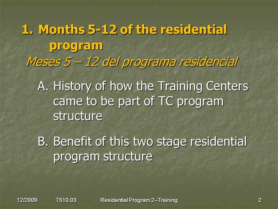 1. Months 5-12 of the residential program Meses 5 – 12 del programa residencial A.History of how the Training Centers came to be part of TC program st