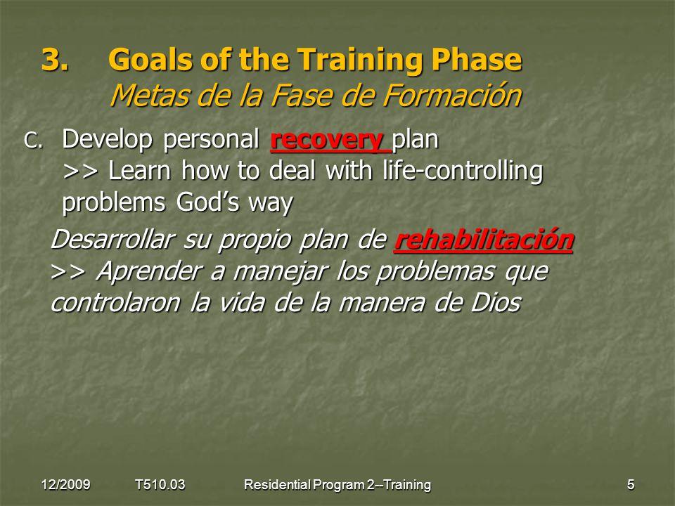 Questions for discussion Preguntas para Charlar 12/2009 T510.0316Residential Program 2--Training