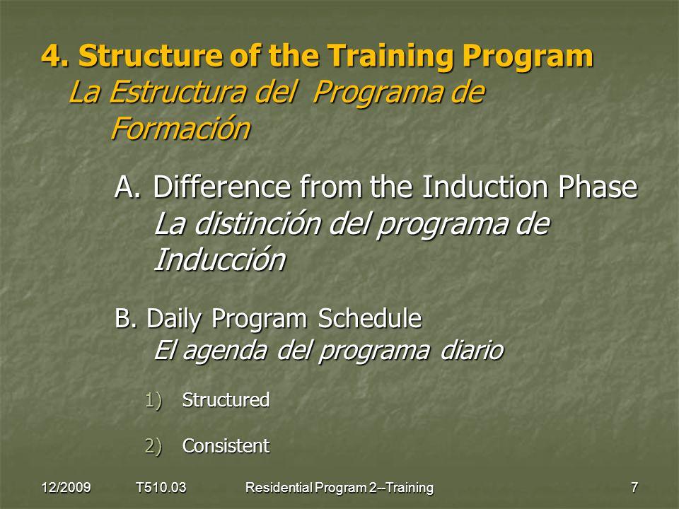 4. Structure of the Training Program La Estructura del Programa de Formación A.Difference from the Induction Phase La distinción del programa de Induc