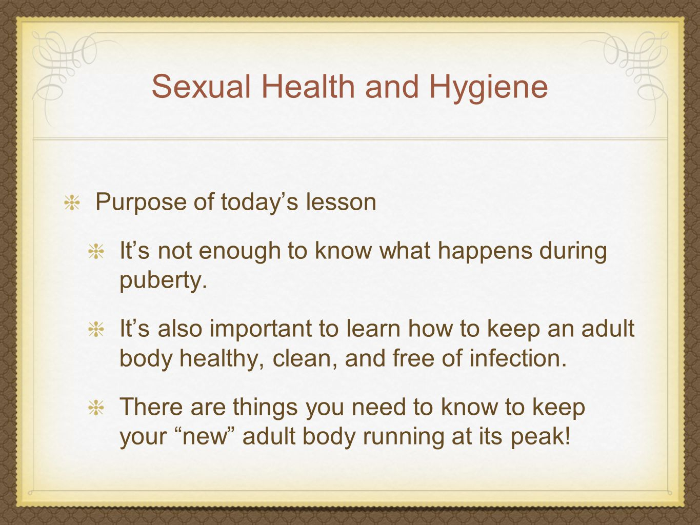 Sexual Health and Hygiene Sexual health and hygiene reference sheet.