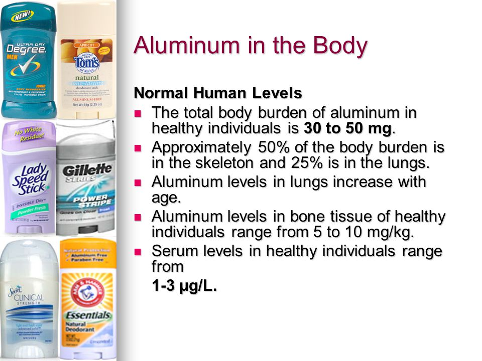 Normal Human Levels The total body burden of aluminum in healthy individuals is 30 to 50 mg.