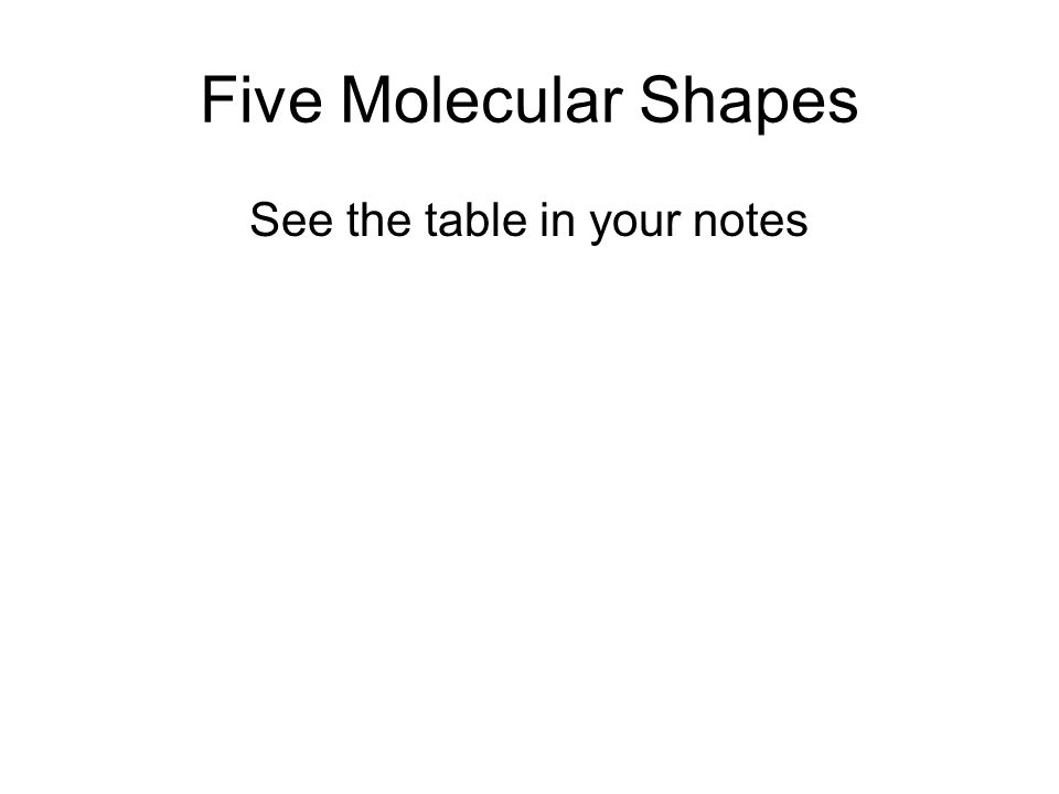 Five Molecular Shapes See the table in your notes
