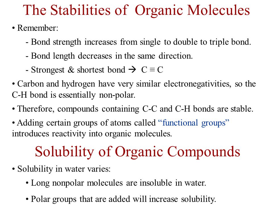 Introduction to Organic Compounds The simplest type of organic compounds are the alkanes .