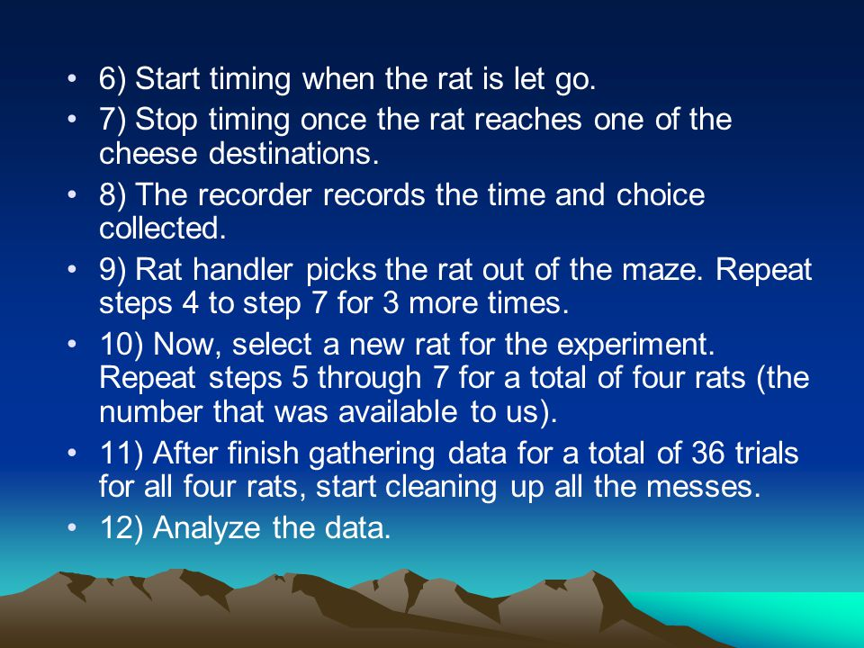 6) Start timing when the rat is let go.