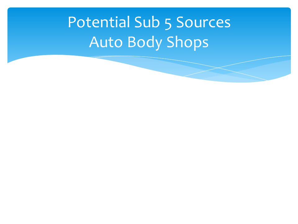 Potential Sub 5 Sources Auto Body Shops