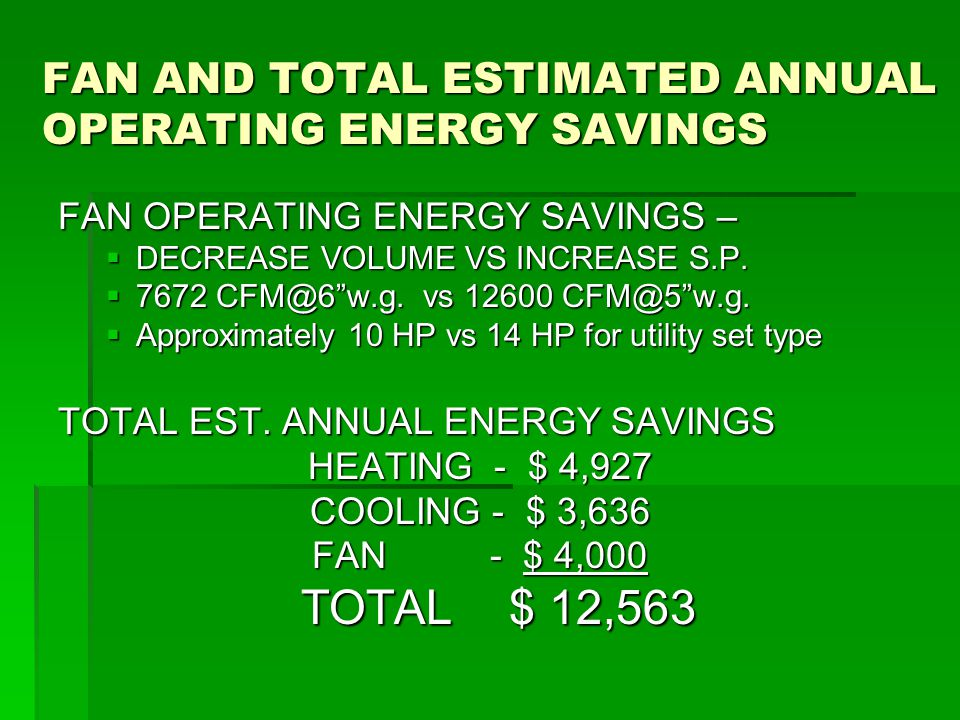 FAN AND TOTAL ESTIMATED ANNUAL OPERATING ENERGY SAVINGS FAN OPERATING ENERGY SAVINGS –  DECREASE VOLUME VS INCREASE S.P.