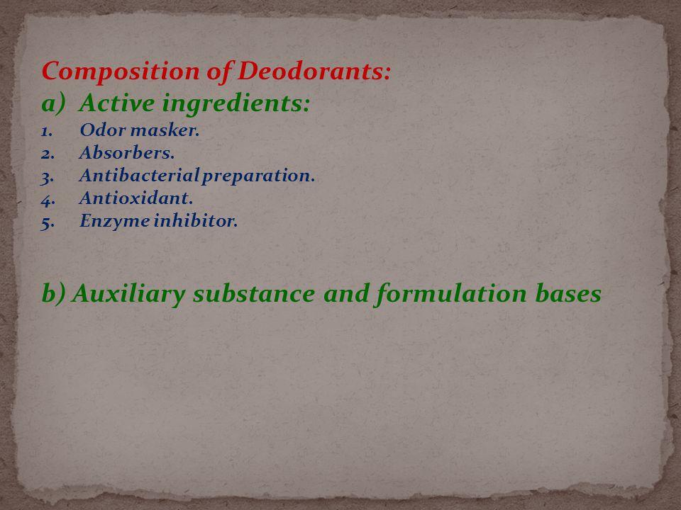 Composition of Deodorants: a)Active ingredients: 1.Odor masker.