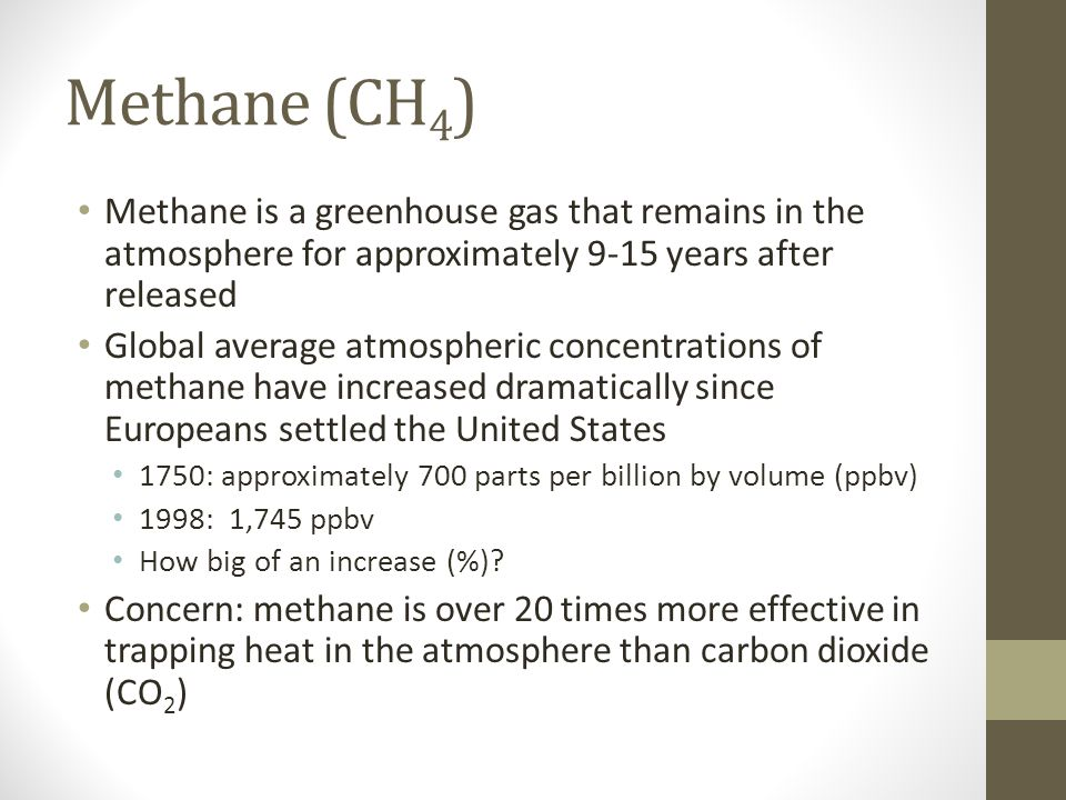 Methane (CH 4 ) Methane is a greenhouse gas that remains in the atmosphere for approximately 9-15 years after released Global average atmospheric concentrations of methane have increased dramatically since Europeans settled the United States 1750: approximately 700 parts per billion by volume (ppbv) 1998: 1,745 ppbv How big of an increase (%).