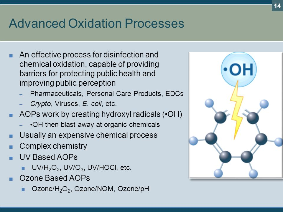 Advanced Oxidation Processes ■ An effective process for disinfection and chemical oxidation, capable of providing barriers for protecting public health and improving public perception – Pharmaceuticals, Personal Care Products, EDCs – Crypto, Viruses, E.