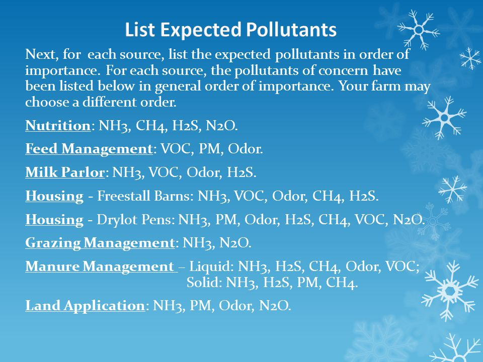 Next, for each source, list the expected pollutants in order of importance.