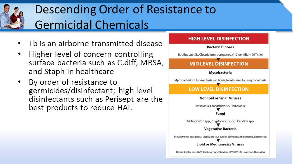 Descending Order of Resistance to Germicidal Chemicals Tb is an airborne transmitted disease Higher level of concern controlling surface bacteria such as C.diff, MRSA, and Staph in healthcare By order of resistance to germicides/disinfectant; high level disinfectants such as Perisept are the best products to reduce HAI.