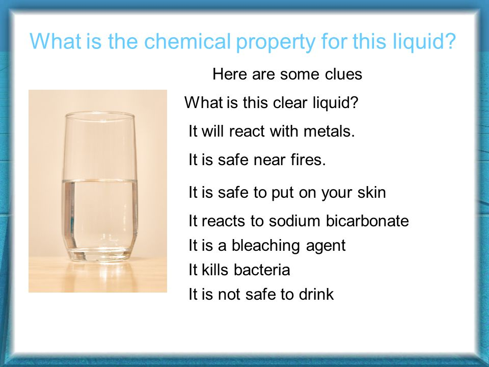What is the chemical property for this liquid. What is this clear liquid.
