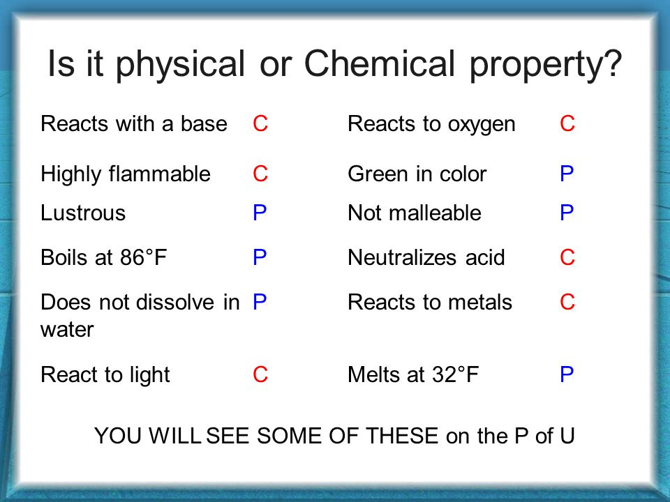 Is it physical or Chemical property.