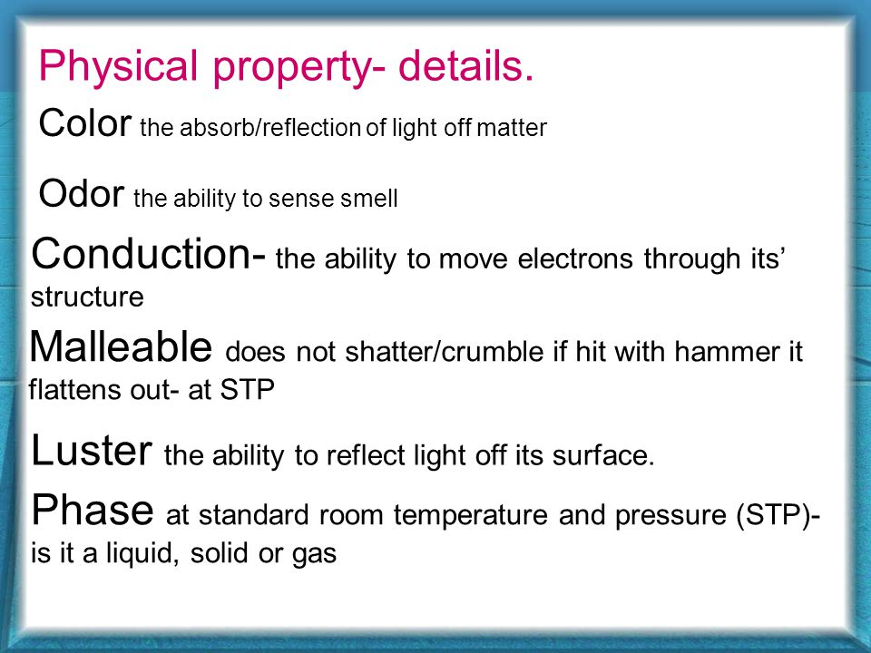 Physical property- details.
