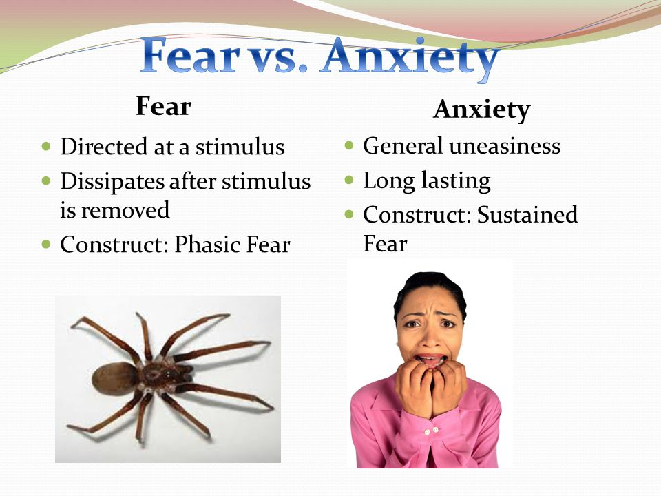 Fear Anxiety Directed at a stimulus Dissipates after stimulus is removed Construct: Phasic Fear General uneasiness Long lasting Construct: Sustained F
