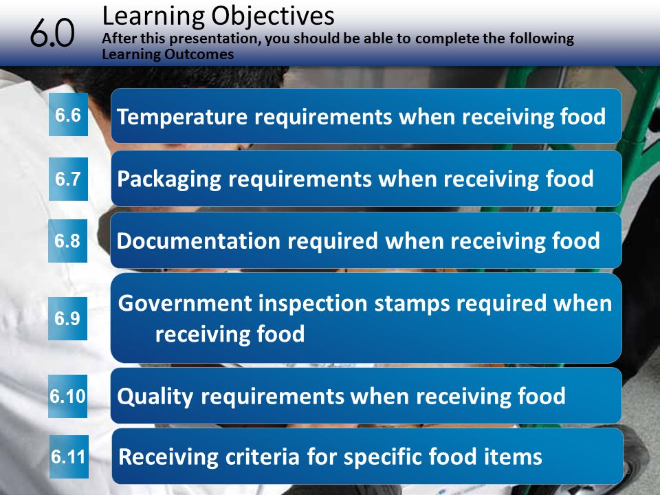 INSPECTION AND GRADING STAMPS Government Inspection Stamps Required when Receiving Food 6.9 Meat must be purchased from plants inspected by the USDA or a state department of agriculture.