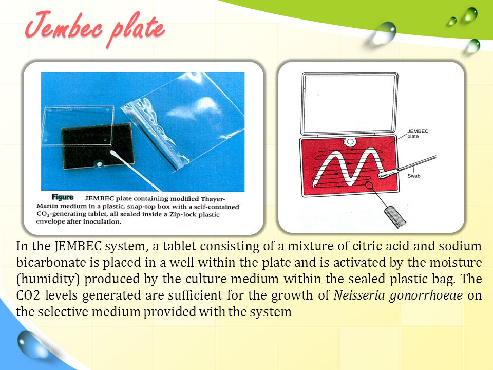 Jembec plate In the JEMBEC system, a tablet consisting of a mixture of citric acid and sodium bicarbonate is placed in a well within the plate and is activated by the moisture (humidity) produced by the culture medium within the sealed plastic bag.
