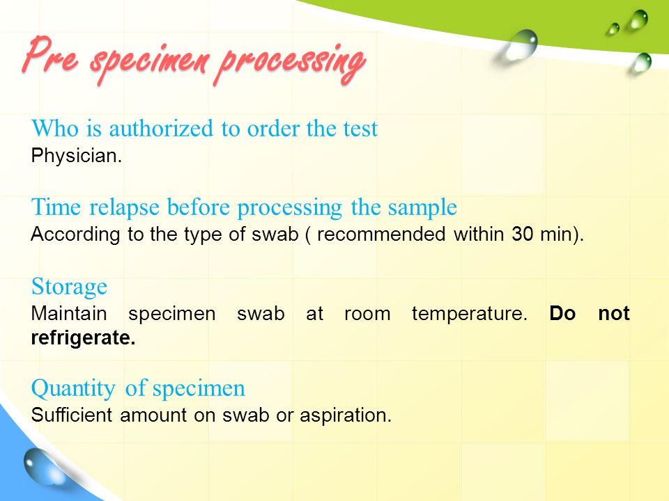 Pre specimen processing Who is authorized to order the test Physician.