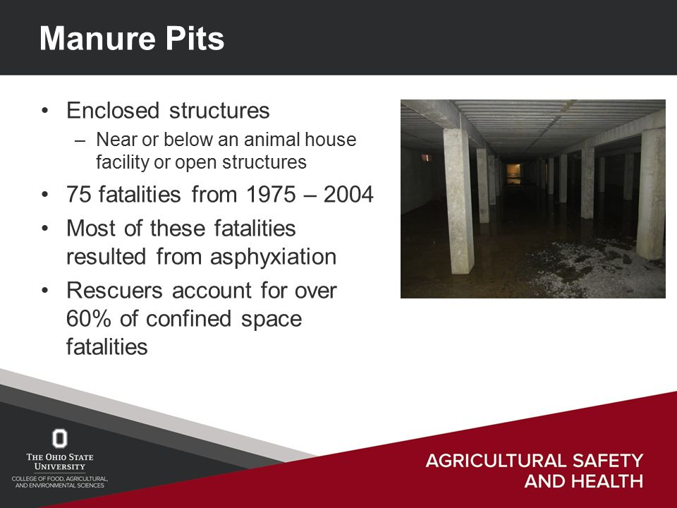 Manure Pits Enclosed structures –Near or below an animal house facility or open structures 75 fatalities from 1975 – 2004 Most of these fatalities resulted from asphyxiation Rescuers account for over 60% of confined space fatalities