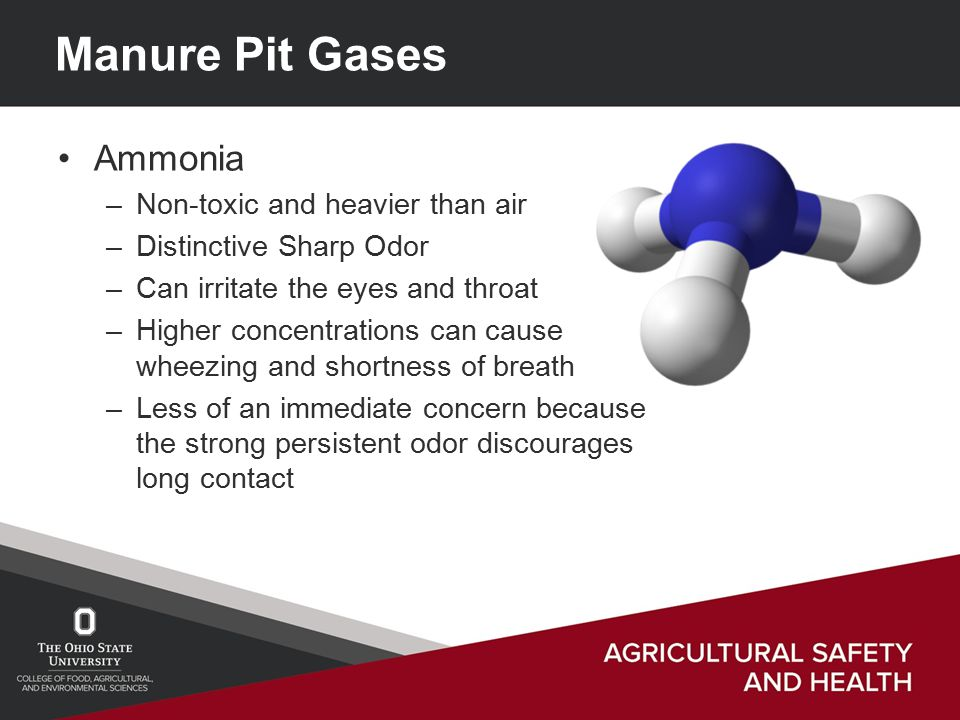 Manure Pit Gases Ammonia –Non-toxic and heavier than air –Distinctive Sharp Odor –Can irritate the eyes and throat –Higher concentrations can cause wheezing and shortness of breath –Less of an immediate concern because the strong persistent odor discourages long contact