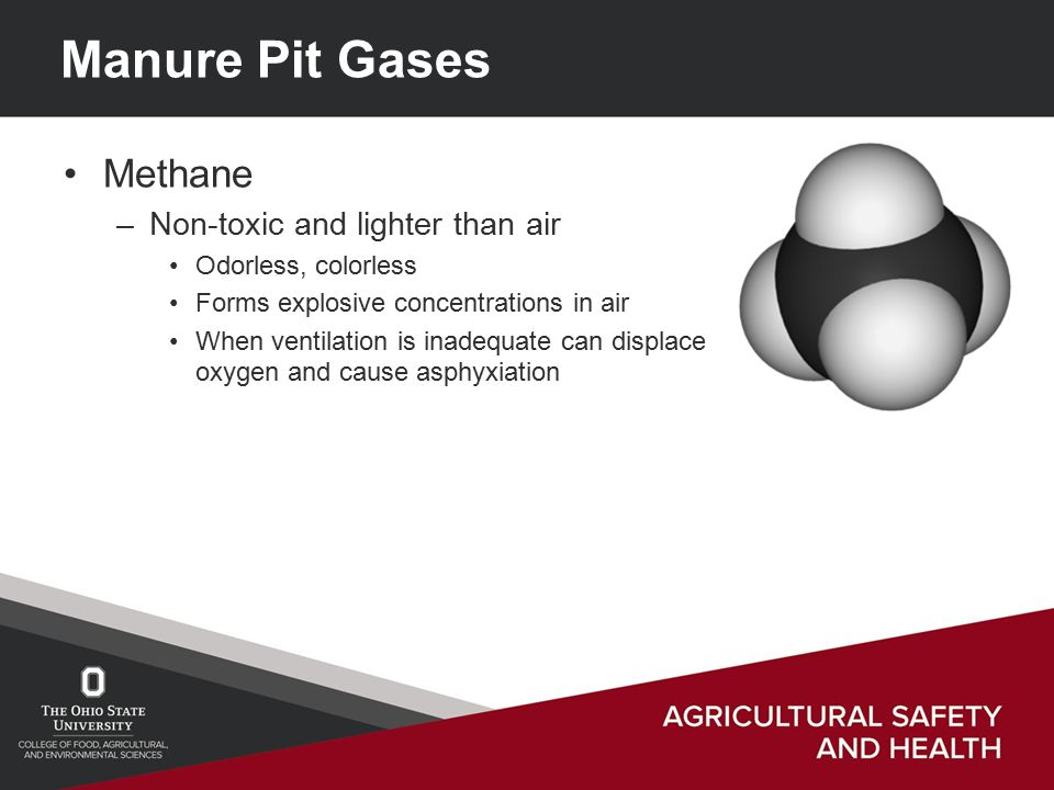 Manure Pit Gases Methane –Non-toxic and lighter than air Odorless, colorless Forms explosive concentrations in air When ventilation is inadequate can displace oxygen and cause asphyxiation
