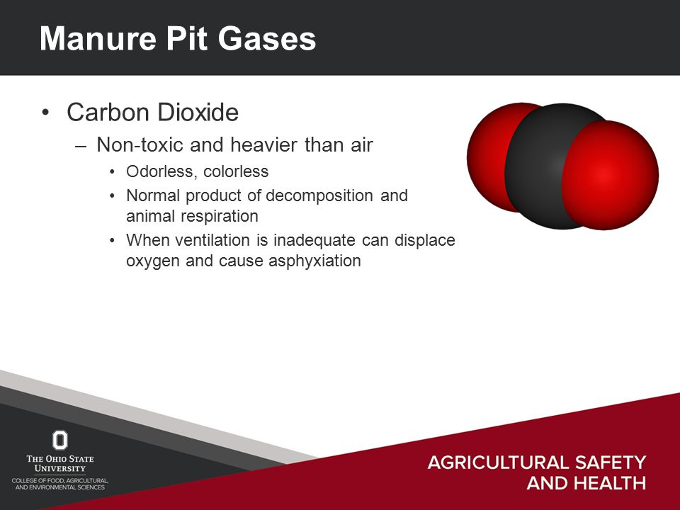 Manure Pit Gases Carbon Dioxide –Non-toxic and heavier than air Odorless, colorless Normal product of decomposition and animal respiration When ventilation is inadequate can displace oxygen and cause asphyxiation