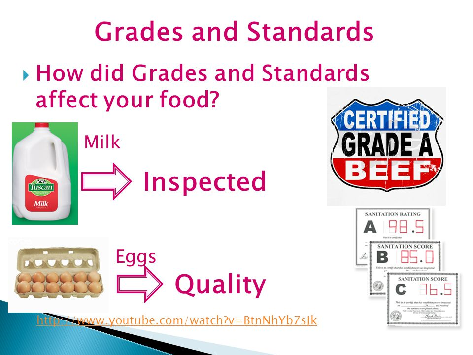  How did Grades and Standards affect your food? Milk Inspected Eggs Quality Grades and Standards http://www.youtube.com/watch?v=BtnNhYb7sJk