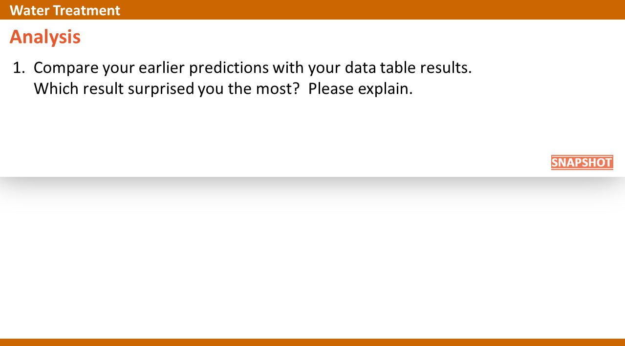 Analysis 1.Compare your earlier predictions with your data table results. Which result surprised you the most? Please explain. Water Treatment