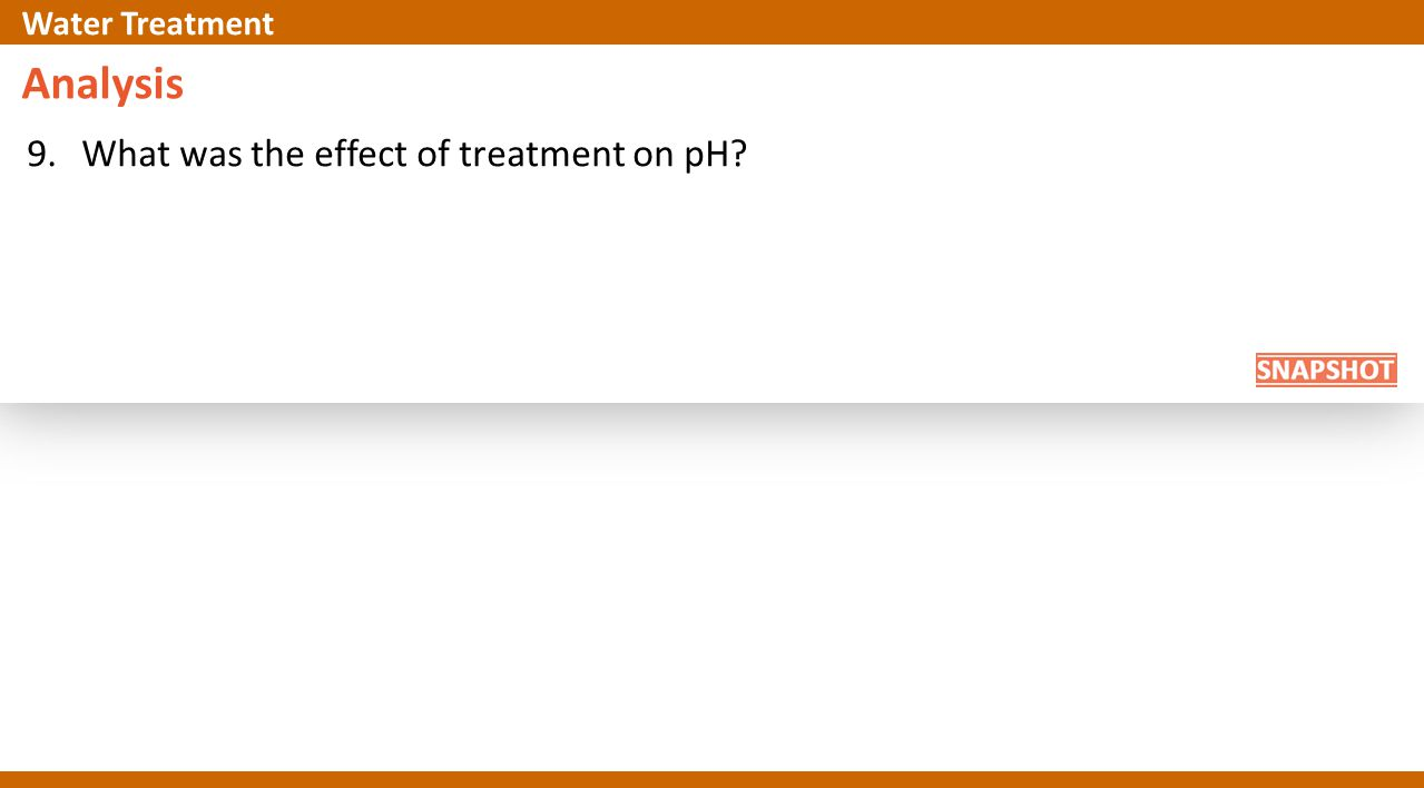 Analysis 9.What was the effect of treatment on pH Water Treatment