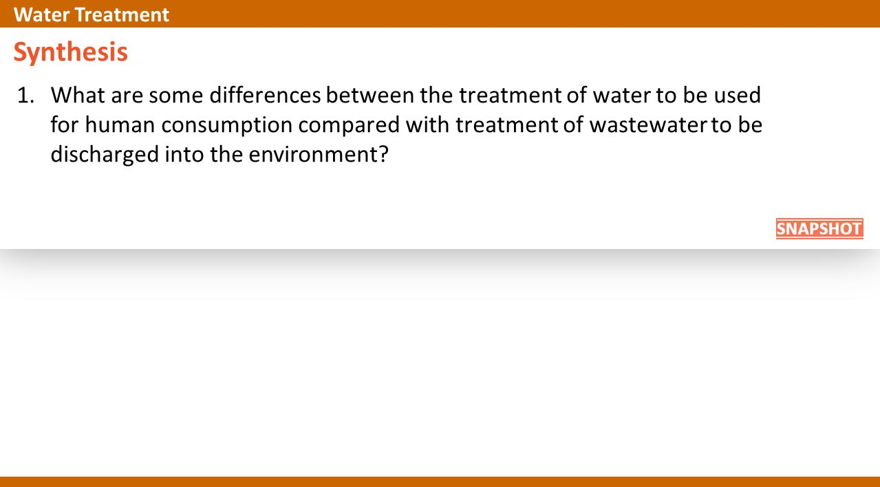 Synthesis 1.What are some differences between the treatment of water to be used for human consumption compared with treatment of wastewater to be disc