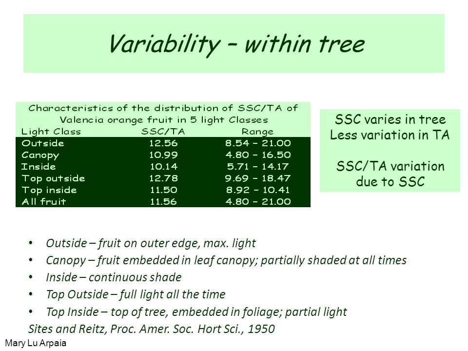Variability – within tree Outside – fruit on outer edge, max.