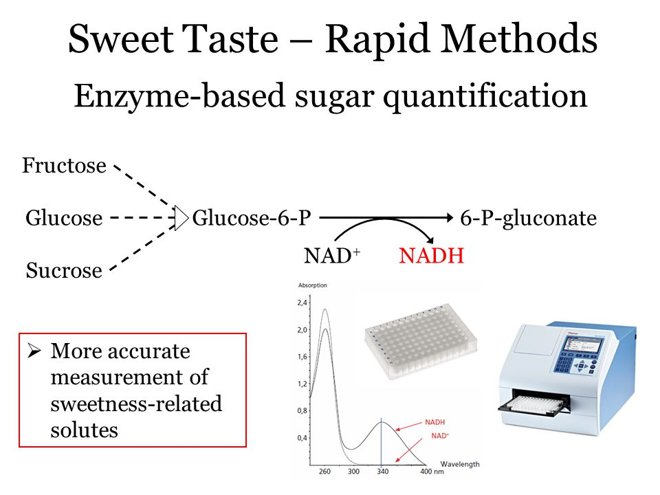 Sweet Taste – Rapid Methods Enzyme-based sugar quantification Fructose Glucose Sucrose Glucose-6-P6-P-gluconate NAD + NADH  More accurate measurement of sweetness-related solutes