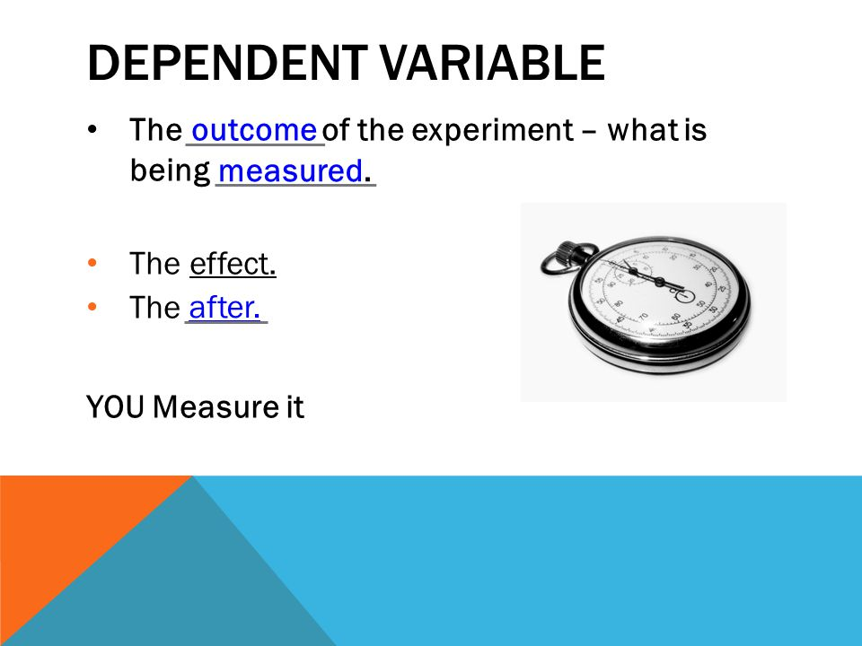 DEPENDENT VARIABLE The outcome of the experiment – what is being measured.