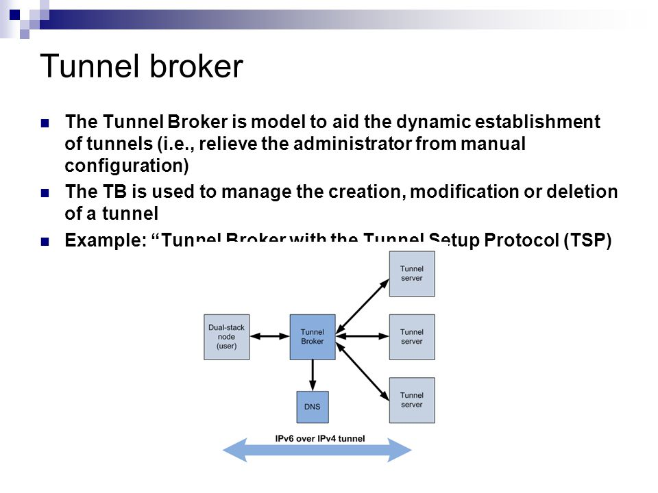 Tunnel broker The Tunnel Broker is model to aid the dynamic establishment of tunnels (i.e., relieve the administrator from manual configuration) The T