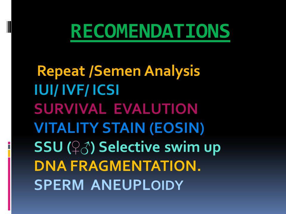 RECOMENDATIONS Repeat /Semen Analysis IUI/ IVF/ ICSI SURVIVAL EVALUTION VITALITY STAIN (EOSIN) SSU ( ♀♂ ) Selective swim up DNA FRAGMENTATION.
