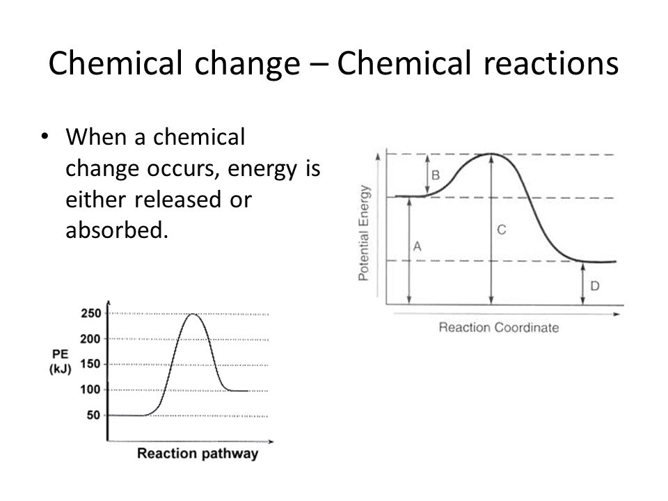 Chemical change – Chemical reactions When a chemical change occurs, energy is either released or absorbed.
