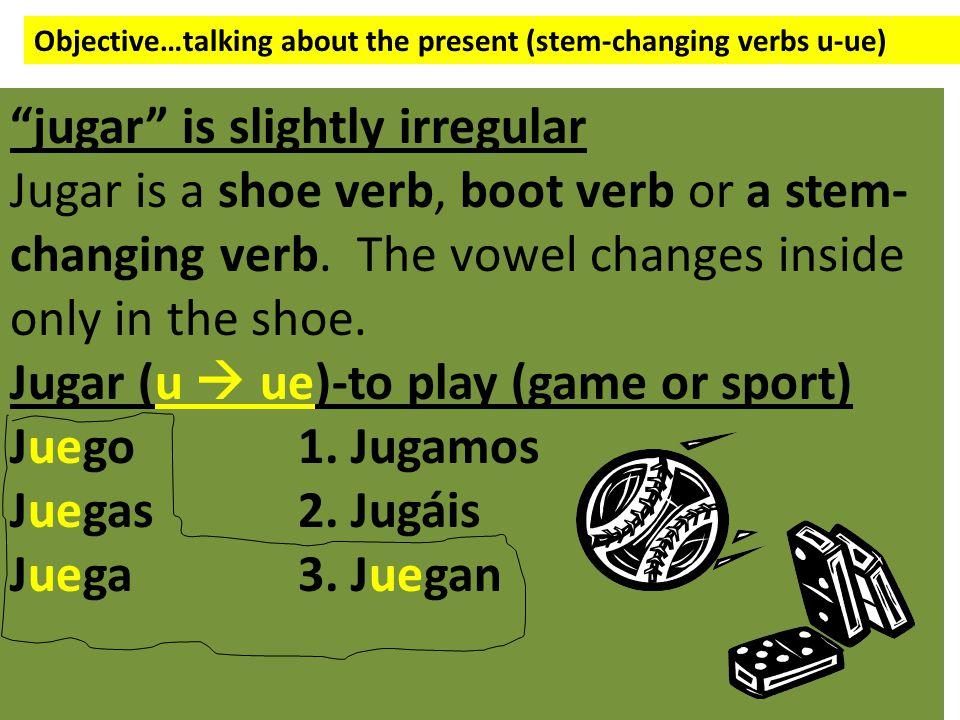 Objective…talking about the present (stem-changing verbs u-ue) jugar is slightly irregular Jugar is a shoe verb, boot verb or a stem- changing verb.