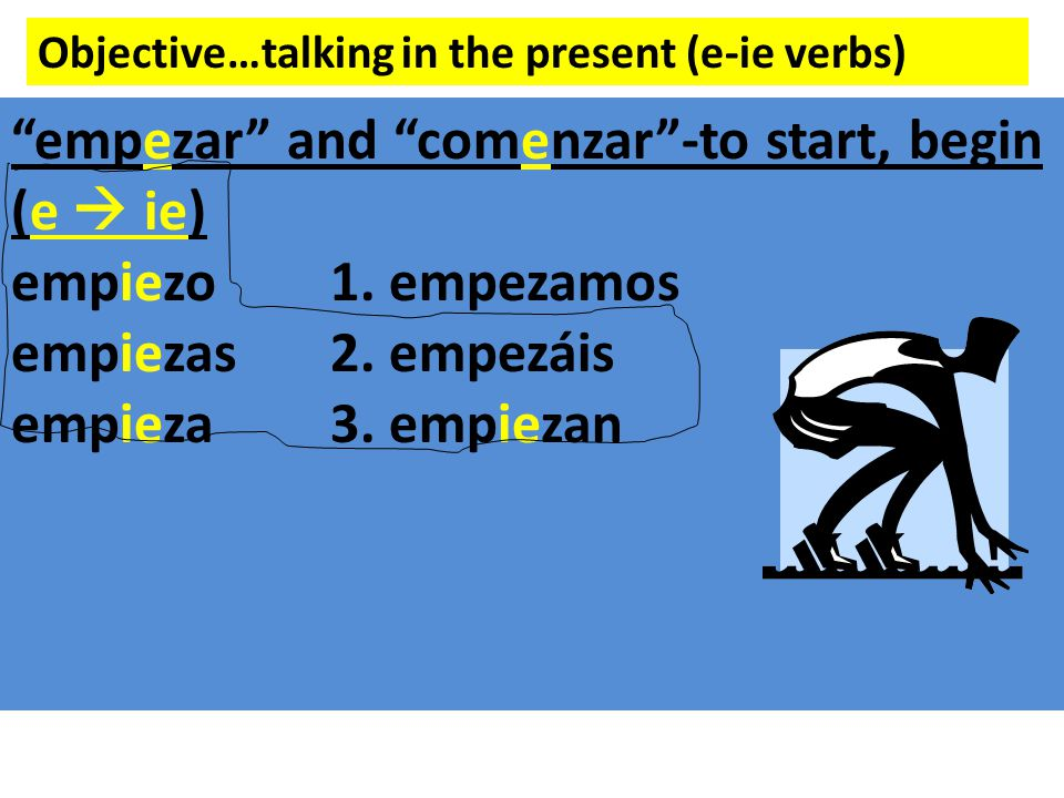 Objective…talking in the present (e-ie verbs) empezar and comenzar -to start, begin (e  ie) empiezo1.