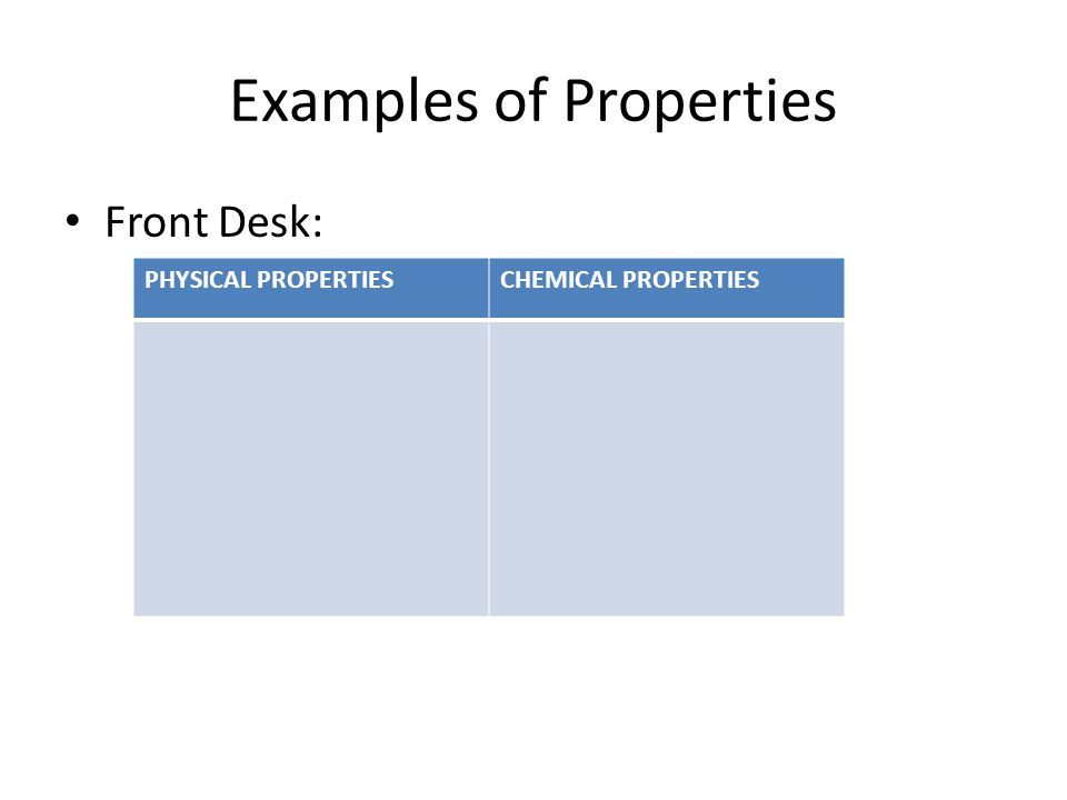 Examples of Properties Front Desk: PHYSICAL PROPERTIESCHEMICAL PROPERTIES