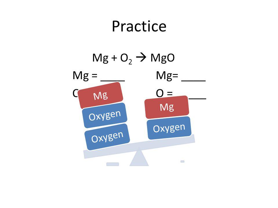 Practice Mg + O 2  MgO Mg = ____Mg= ____O = _____ Oxygen Mg Oxygen