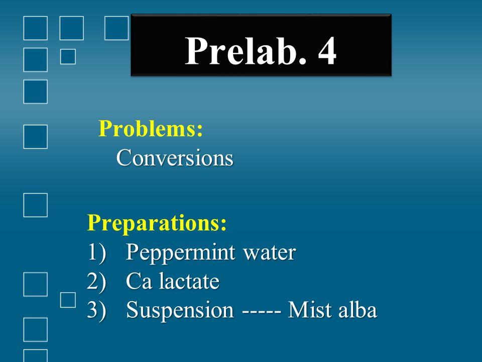 Prelab. 4 Preparations: 1)Peppermint water 2)Ca lactate 3)Suspension ----- Mist alba Problems: Conversions Conversions