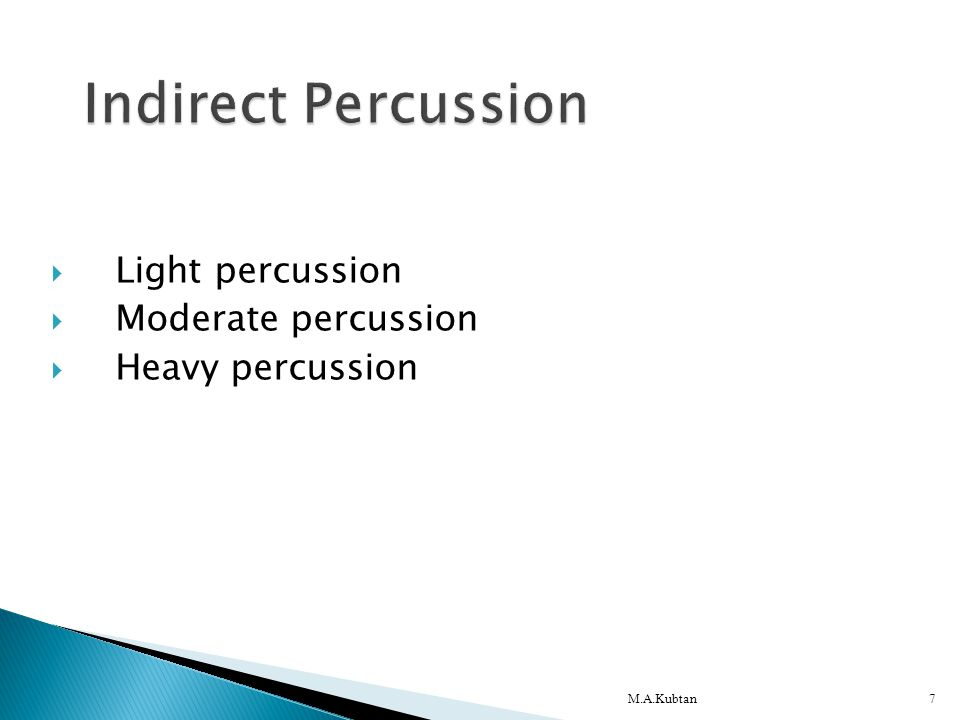  Light percussion  Moderate percussion  Heavy percussion M.A.Kubtan7