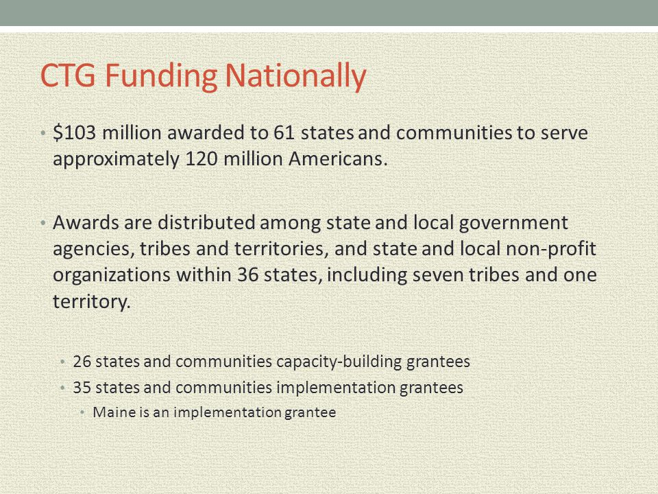 CTG Funding Nationally $103 million awarded to 61 states and communities to serve approximately 120 million Americans. Awards are distributed among st