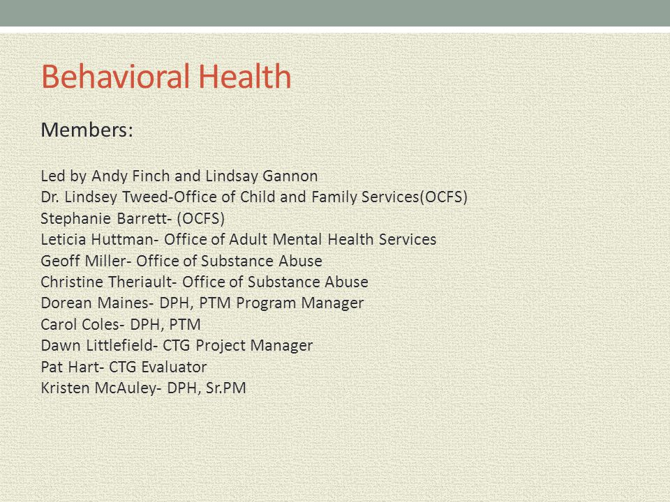 Behavioral Health Members: Led by Andy Finch and Lindsay Gannon Dr. Lindsey Tweed-Office of Child and Family Services(OCFS) Stephanie Barrett- (OCFS)