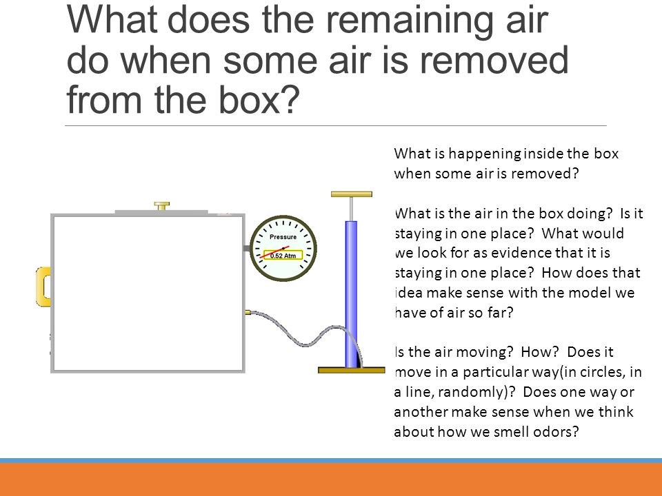 What does the remaining air do when some air is removed from the box.